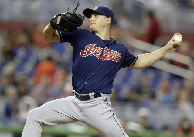 Cleveland Indians starting pitcher Scott Kazmir throws in the first inning during an interleague baseball game against the Miami Marlins, Sunday, Aug. 4, 2013, in Miami. (AP Photo/Lynne Sladky)