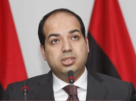 Libya's new PM Ahmed Maiteeq speaks during a news conference in Tripoli