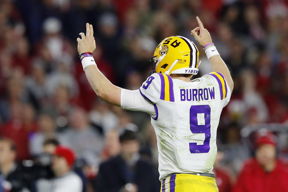 LSU QB Joe Burrow delivered in a big way at Bryant-Denny Stadium against Alabama. (Photo by Kevin C. Cox/Getty Images)