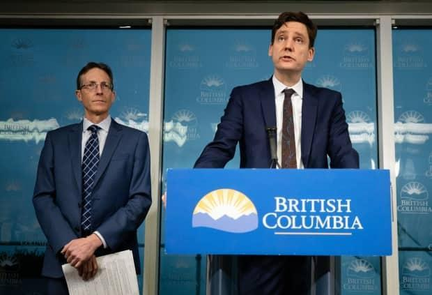 Housing Minister David Eby, right, said in March the province may exercise the power of paramountcy to circumvent Penticton city council's decision of closing the temporary shelter.