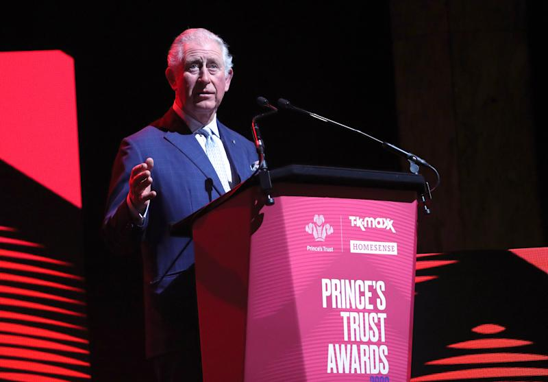 LONDON, ENGLAND - MARCH 11: Prince Charles, Prince of Wales speaks on stage at the Prince's Trust And TK Maxx & Homesense Awards at London Palladium on March 11, 2020 in London, England. (Photo by Yui Mok - WPA Pool/Getty Images)