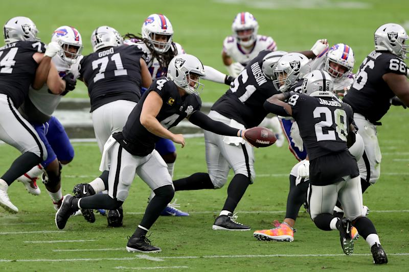Most of the Raiders offensive line will play on Sunday after several days on the reserve/COVID-19 list due to possible exposure. (Photo by Matthew Stockman/Getty Images)
