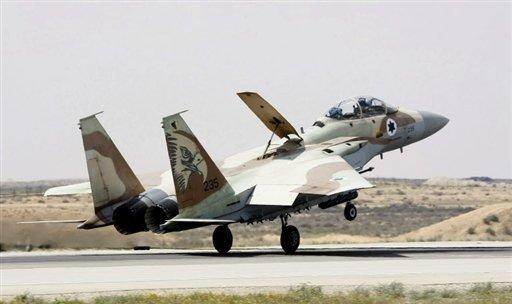 An Israeli F-15 fighter jet lands at the Hazerim Air Force Base on March 30, 2009