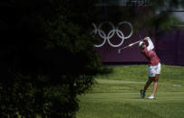 Nanna Koerstz Madsen, of Denmark, watches her tee shot on the 10th hole during the second round of the women's golf event at the 2020 Summer Olympics, Thursday, Aug. 5, 2021, at the Kasumigaseki Country Club in Kawagoe, Japan. (AP Photo/Matt York)