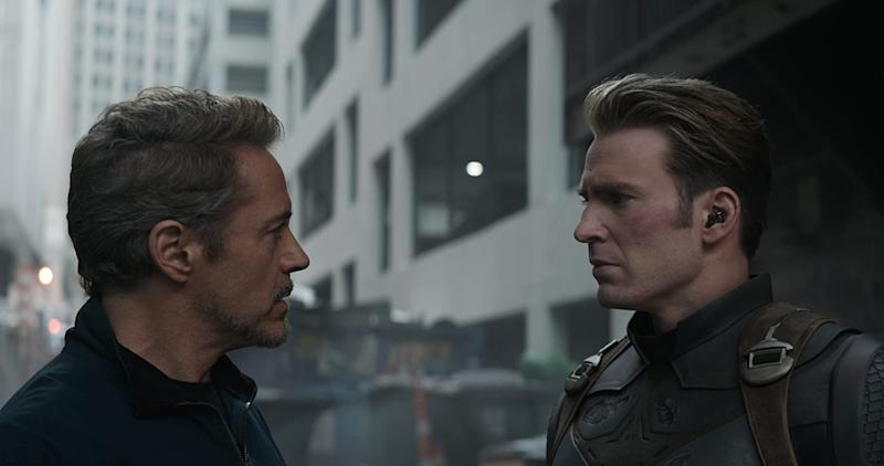 Robert Downey Jr and Chris Evans stare each other down in Avengers: Endgame (Image by Marvel)