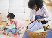 """<p>It may seem tough to make chores fun, but you can make them easier by turning them into a habit. Christine Wilcox, budgeting and home organization blogger of <a href=""""https://lettinggolivingmore.com/"""" rel=""""nofollow noopener"""" target=""""_blank"""" data-ylk=""""slk:Letting Go Living More"""" class=""""link rapid-noclick-resp"""">Letting Go Living More</a>, tells Woman's Day that stacking your chores is a better idea. </p><p>""""Make it a habit that you will put on a load of washing just before you set out the breakfast items. Or make it a habit that as the kids are eating breakfast you will unload the dishwasher,"""" Wilcox recommends. """"Making habits of regular chores and stacking them together stops things building up and getting out of control.""""</p>"""
