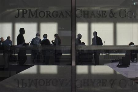 The lobby of JPMorgan headquarters is photographed through its front doors in New York