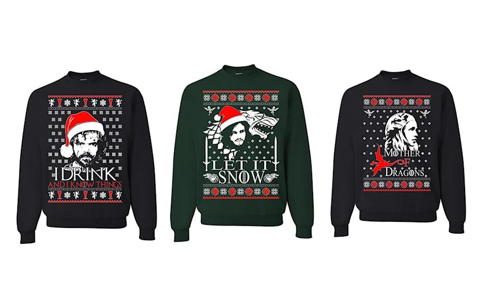 """<p>Winter is coming, and what better way to stay warm and celebrate the holidays than these frocks featuring the mugs of Tyrion, Jon Snow, and Jon Snow's aunt lover, er, aunt/lover (actually, both are correct), Daenerys. <strong>Buy <a rel=""""nofollow noopener"""" href=""""https://www.amazon.com/dp/B0779DDL7V/ref=sspa_dk_detail_4?psc=1"""" target=""""_blank"""" data-ylk=""""slk:here"""" class=""""link rapid-noclick-resp"""">here</a>, <a rel=""""nofollow noopener"""" href=""""https://www.amazon.com/dp/B077B9M28Z/ref=sspa_dk_detail_5?psc=1"""" target=""""_blank"""" data-ylk=""""slk:here"""" class=""""link rapid-noclick-resp"""">here</a>, and <a rel=""""nofollow noopener"""" href=""""https://www.amazon.com/dp/B0779GRYPY/ref=sspa_dk_detail_1?psc=1"""" target=""""_blank"""" data-ylk=""""slk:here"""" class=""""link rapid-noclick-resp"""">here</a></strong> </p>"""