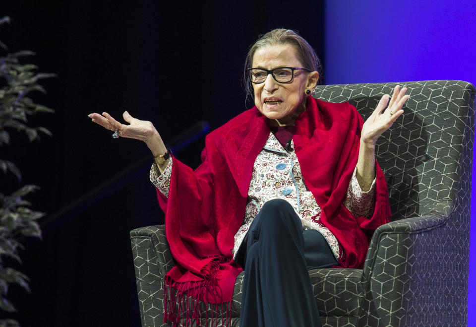 U.S. Supreme Court Justice Ruth Bader Ginsburg joins Amherst College President Biddy Martin for a conversation in Coolidge Cage at Amherst College in Amherst, MA on Oct. 3, 2019. (Erin Clark for The Boston Globe via Getty Images)