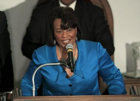The Reverend Bernice King daughter of Martin Luther King Jr speaks at the National Bar Association's 60th Anniversary of the Montgomery Bus Boycott in Montgomery