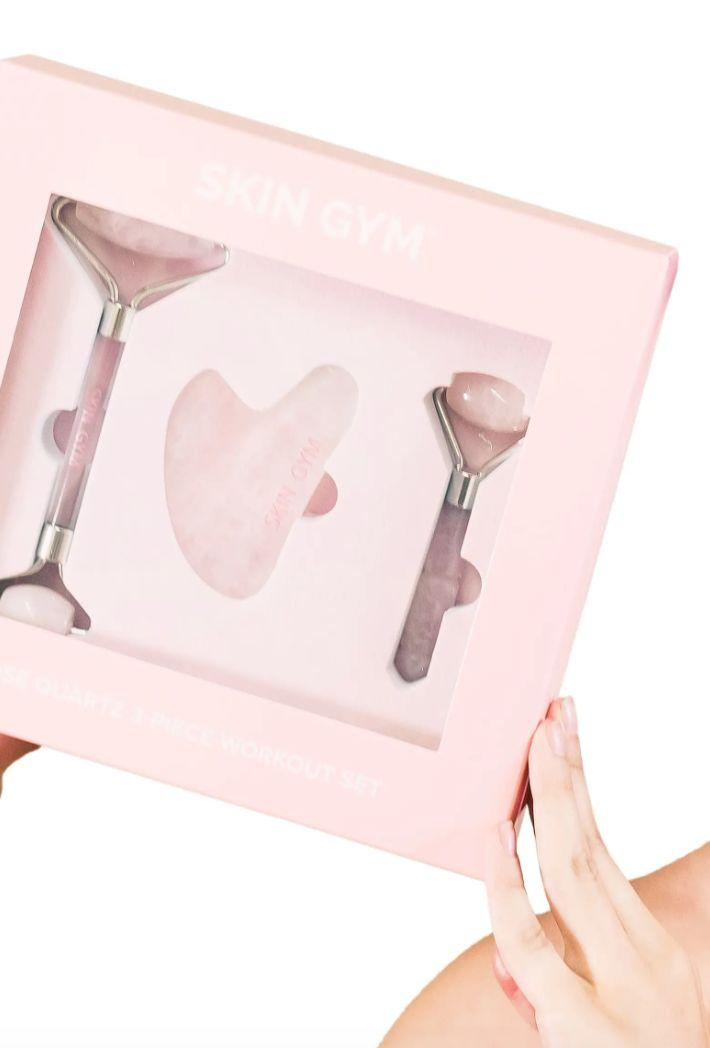"""This set includes agua sha tool, which issupposed to help sculpt your face and massage for better blood flow. You also get a full-size and mini version of rose quartz facial rollers that are meant to brighten and tighten.<a href=""""https://fave.co/2HGgRY0"""" target=""""_blank"""" rel=""""noopener noreferrer"""">Find it for $59 at Nordstrom</a>."""