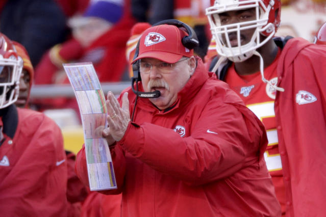 Kansas City Chiefs head coach Andy Reid is heading to his second Super Bowl. (AP Photo/Charlie Riedel)