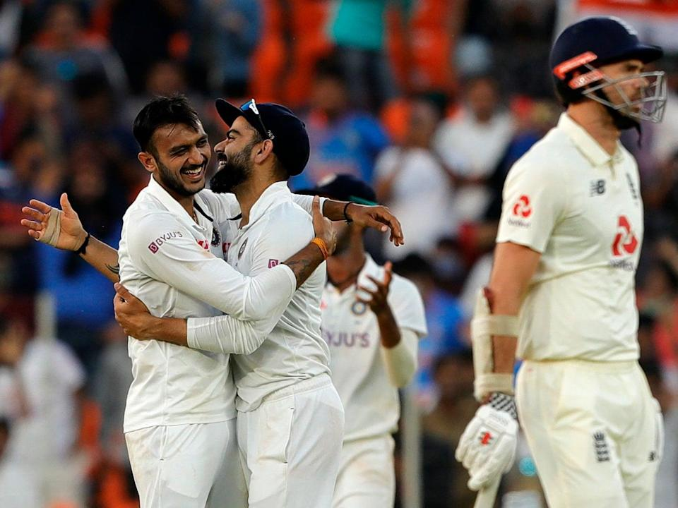 <p>India team celebrates the wicket during day one of the third Test</p> (Getty)