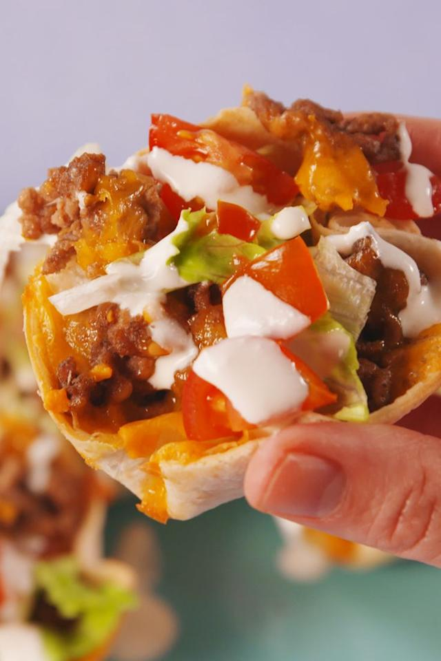 "<p>Taco Tuesday has never been so fun.</p><p>Get the recipe from <a rel=""nofollow"" href=""https://www.delish.com/cooking/recipe-ideas/recipes/a57791/taco-cups-recipe/"">Delish</a>.</p><p><strong><em><a rel=""nofollow"" href=""https://www.amazon.com/Wilton-Recipe-Nonstick-12-Cup-Regular/dp/B003W0UMPI"">BUY NOW</a> Muffin Pan, $7, amazon.com</em></strong></p>"