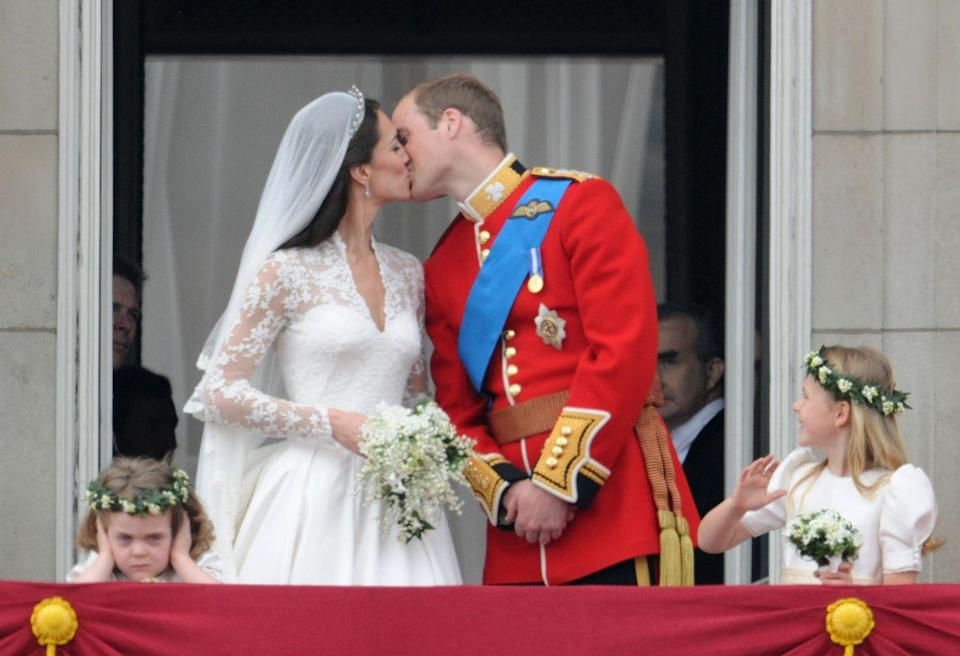 """<p>Kate Middleton and Prince William's wedding would have been perfect, especially the moment they shared a kiss on the balcony in front of crowds of people. However, <a href=""""https://www.harpersbazaar.com/celebrity/latest/a15377/royal-wedding-flower-girl/"""" rel=""""nofollow noopener"""" target=""""_blank"""" data-ylk=""""slk:flower girl Grace van Cutsem"""" class=""""link rapid-noclick-resp"""">flower girl Grace van Cutsem</a> was less than impressed by the scene, covered her ears, and looked exceedingly moody to boot. Maybe not an actual scandal, but an unforgettable naughty moment for sure!</p>"""