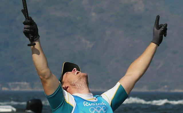 2016 Rio Olympics - Sailing - Final - Men's One Person Dinghy - Laser - Medal Race - Marina de Gloria - Rio de Janeiro, Brazil - 16/08/2016. Tom Burton (AUS) of Australia celebrates. REUTERS/Benoit Tessier FOR EDITORIAL USE ONLY. NOT FOR SALE FOR MARKETING OR ADVERTISING CAMPAIGNS.