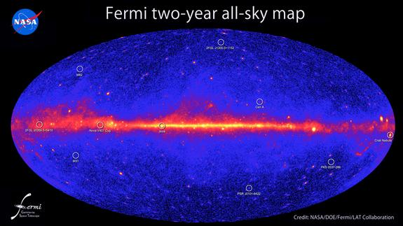 This all-sky image, constructed from two years of observations by NASA's Fermi Gamma-ray Space Telescope, shows how the sky appears in gamma-ray light. Brighter colors indicate brighter gamma-ray sources. A diffuse glow fills the sky and is bri