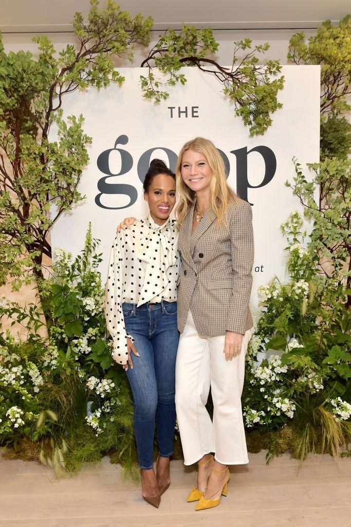 """<p>The actors remain close friends after first meeting decades ago at Spence School in New York City. </p><p>When the friends came together for a Goop event in 2019, the two reminisced about their school days with Paltrow sharing that as she was about to graduate she held auditions for the schools a capella group for which Washington auditioned. </p><p><a href=""""https://www.eonline.com/uk/news/1085745/kerry-washington-and-gwyneth-paltrow-spill-secrets-from-their-high-school-days"""" rel=""""nofollow noopener"""" target=""""_blank"""" data-ylk=""""slk:According to"""" class=""""link rapid-noclick-resp"""">According to </a><a href=""""https://www.eonline.com/uk/news/1085745/kerry-washington-and-gwyneth-paltrow-spill-secrets-from-their-high-school-days"""" rel=""""nofollow noopener"""" target=""""_blank"""" data-ylk=""""slk:E,"""" class=""""link rapid-noclick-resp"""">E,</a> Paltrow explained: 'This is so surreal... I was in a singing group called Triple Trio... We were holding auditions because a bunch of us were graduating, and in walks Kerry Washington. The most beautiful—first of all, your face has not changed. No ageing whatsoever—This beautiful eight grader comes in so confident. She opened her mouth and the most exquisite voice came out.'</p><p>Washington also confirmed to the crowd that Paltrow was a cool girl at school, saying: 'Gwyneth was always cool. By junior year, absolutely.'<br></p>"""