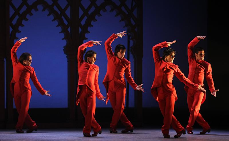 This undated publicity image released by Helene Davis PR shows Ballet Flamenco de Andalucia during a performance. The troupe is performing through March 9 at New York City Center. (AP Photo/Helene Davis PR, Miguel Angel Gonzalez)