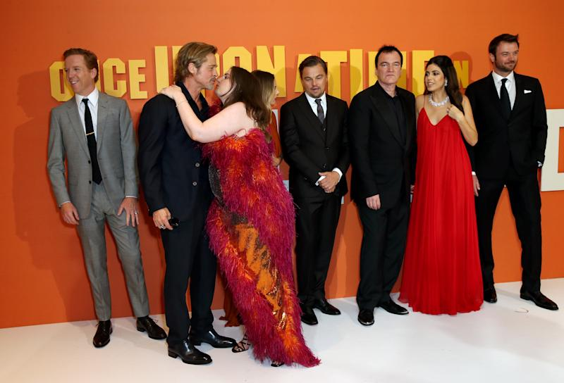 Damian Lewis (left to right), Brad Pitt, Lena Dunham, Margot Robbie, Leonardo DiCaprio, Quentin Tarantino, Daniella Pick, Costa Ronin attending the Once Upon A Time... In Hollywood UK premiere in Leicester Square, London. (Photo by Isabel Infantes/PA Images via Getty Images)
