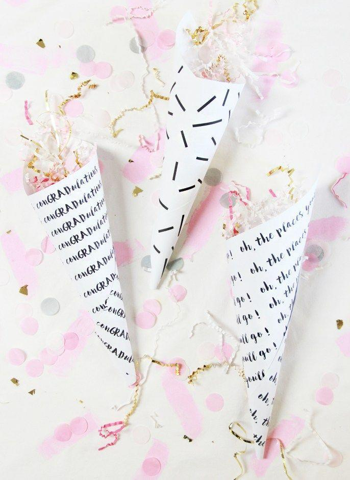 "<p>Hand out these homemade confetti cones, then shower the guest of honor when they arrive. </p><p><a href=""https://abubblylife.com/2016/05/diy-graduation-confetti-cones.html/"" rel=""nofollow noopener"" target=""_blank"" data-ylk=""slk:Get the tutorial."" class=""link rapid-noclick-resp"">Get the tutorial.</a></p>"