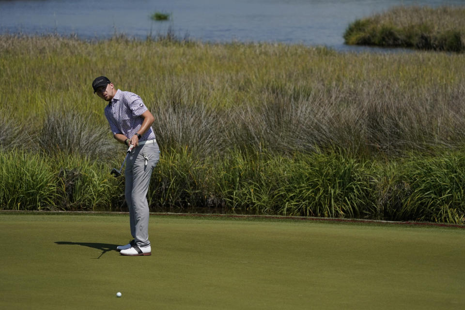 Larkin Gross putts on the 13th hole during a practice round at the PGA Championship golf tournament on the Ocean Course Tuesday, May 18, 2021, in Kiawah Island, S.C. (AP Photo/Matt York)
