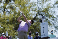 Robert MacIntyre, of Scotland, hits his tee shot on the No. 7 hole during a third round match at the Dell Technologies Match Play Championship golf tournament Friday, March 26, 2021, in Austin, Texas. (AP Photo/David J. Phillip)