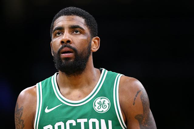 BOSTON, MASSACHUSETTS - MARCH 16: Kyrie Irving #11 of the Boston Celtics looks on during the second half against the Atlanta Hawks at TD Garden on March 16, 2019 in Boston, Massachusetts. The Celtics defeat the Hawks 129-120. (Photo by Maddie Meyer/Getty Images)
