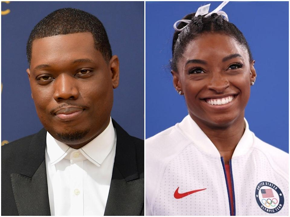 Comedian Michael Che and gymnast Simone Biles (Matt Winkelmeyer/Laurence Griffiths/Getty Images)