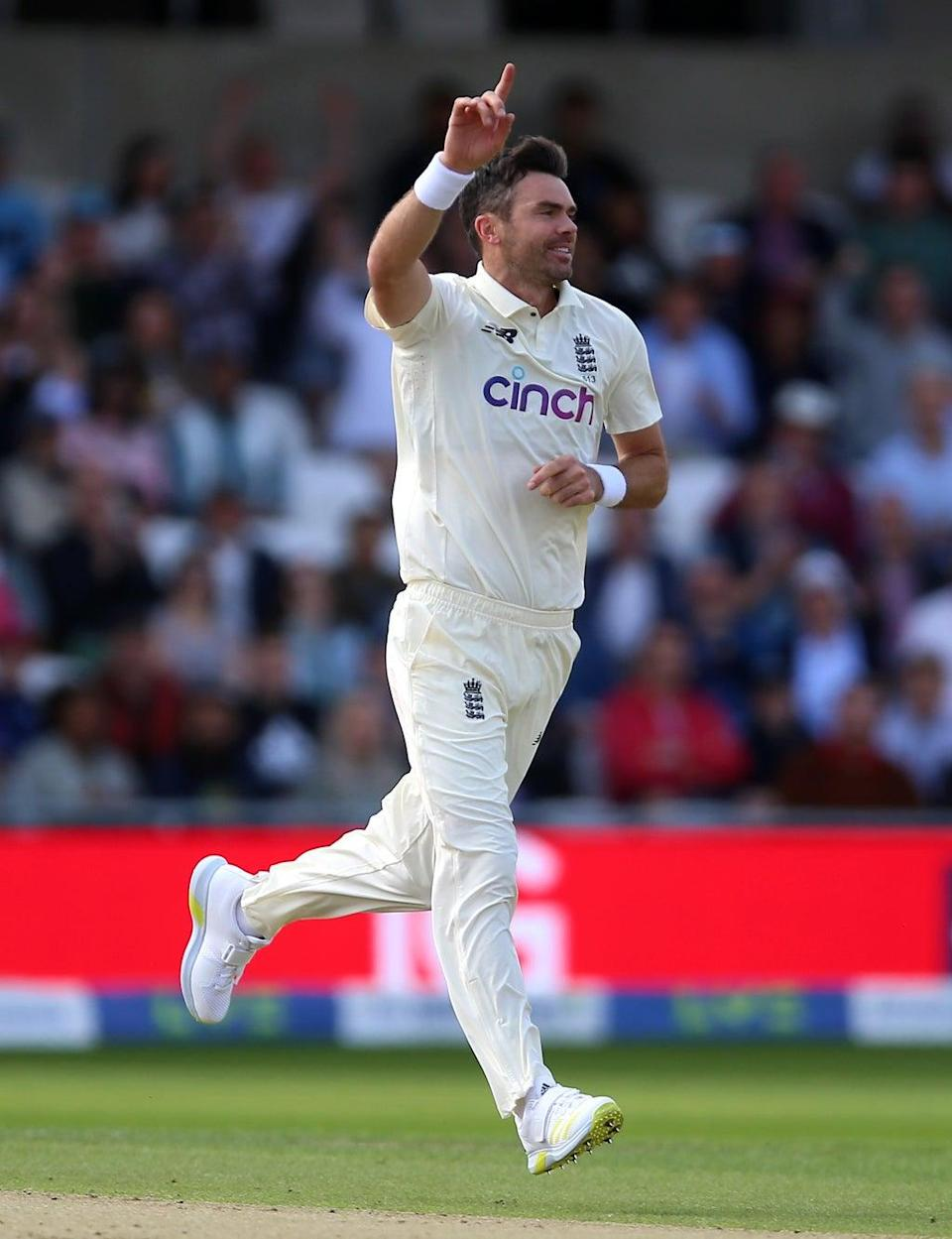England's James Anderson celebrates the wicket of India's Cheteshwar Pujara (Nigel French/PA) (PA Wire)