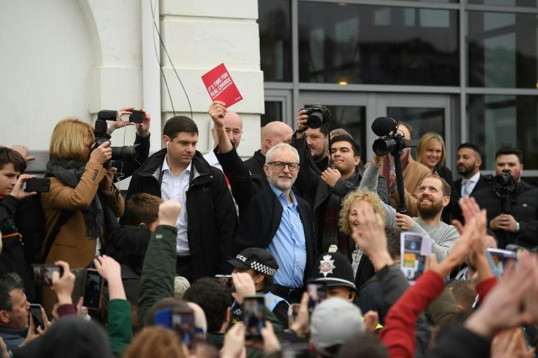 Opposition Labour party leader Jeremy Corbyn is banking on a late surge similar to 2017 to keep out the Conservatives (AFP Photo/DANIEL LEAL-OLIVAS)