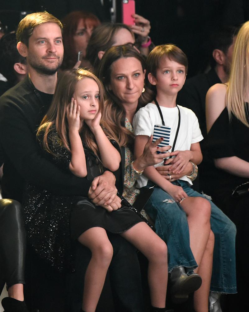Tobey Maguire and Jennifer Meyer depicted with their children in 2016. (Photo: Kevin Mazur/Getty Images)