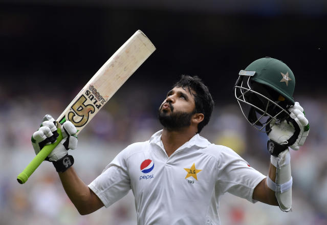 In this Dec. 28, 2016, file photo Pakistan's Azhar Ali leaves the field after scoring 205 not out against Australia during their cricket test in Melbourne, Australia. Pakistan captain Ali says, Wednesday, Nov. 20, 2019, has no concerns about throwing 16-year-old quick Naseem Shah into the Test cauldron in Brisbane, all-but confirming the teen will debut on Thursday against Australia in the series opener. (AP Photo/Andy Brownbill, File)