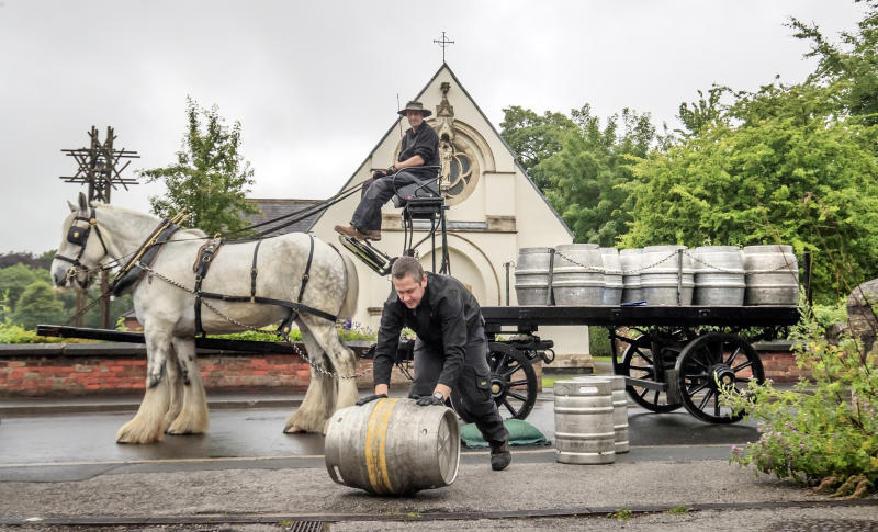 Samuel Smith's brewery in Tadcaster delivers beer to local pubs by horse-drawn cart, as pubs prepare for reopening to members of the public when the lifting of further lockdown restrictions in England comes into effect on Saturday.