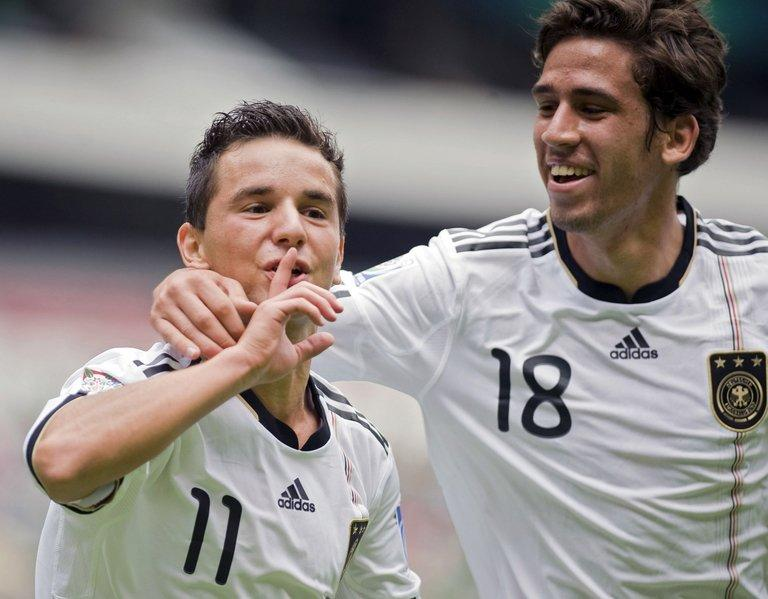 Rani Khedira (right) with Kaan Ayhan in a German Under-17 World Cup game against Brazil in Mexico City on July 10, 2011