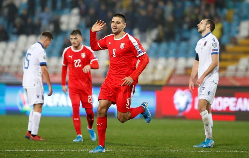 Mitrovic double keeps Serbia in Euro 2020 contention