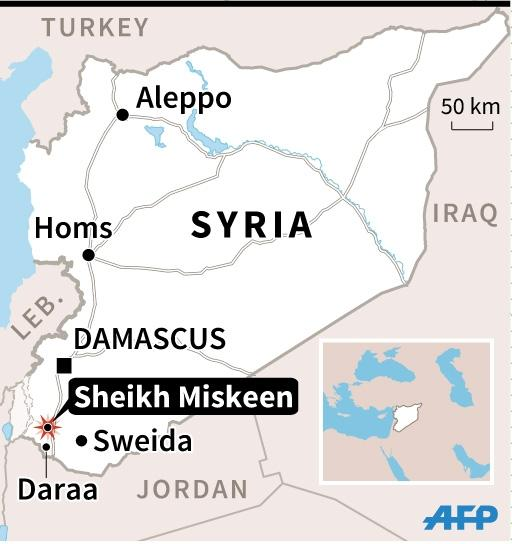 Map of Syria locating fighting between the army and rebels in the opposition-held town of Sheikh Miskeen. 45 x 47 mm (AFP Photo/Valentina Breschi)