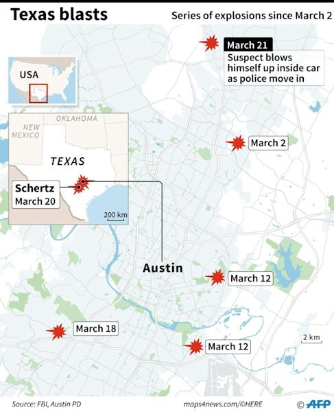 Map of the US state of Texas, locating the sites of five package bombings