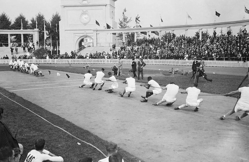 A tug of war contest in 1920
