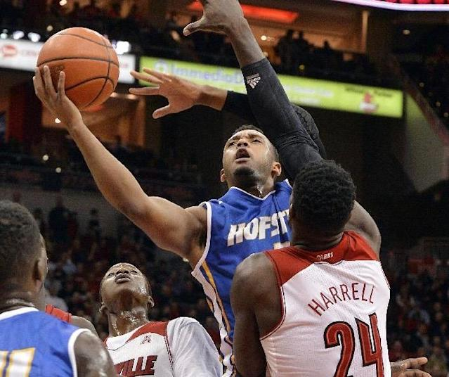 Zeke Upshaw, seen playing for Hofstra in 2013, collapsed and was rushed to the hospital from a G League game on Saturday. (Getty)