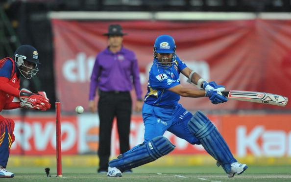 JOHANNESBURG, SOUTH AFRICA - OCTOBER 14:  Sachin Tendulkar of Mumbai square-cuts a delivery during the Karbonn Smart CLT20 match between bizhub Highveld Lions and Mumbai Indians at Bidvest Wanderers Stadium on October 14, 2012 in Johannesburg, South Africa. (Photo by Duif du Toit / Gallo Images/Getty Images)
