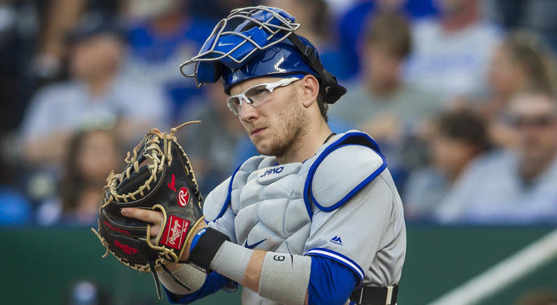 KANSAS CITY, MO - JULY 30: Toronto Blue Jays catcher Danny Jansen (9) get setup behind home plate during the MLB regular season game between the Toronto Blue Jays and the Kansas City Royals on Tuesday July 30, 2019 at Kauffman Stadium in Kansas City, MO. (Photo by Nick Tre. Smith/Icon Sportswire via Getty Images)