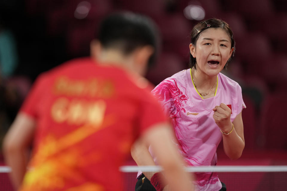 China's Chen Meng gestures during the gold medal match of the table tennis women's singles against countrywoman Sun Yingsha at the 2020 Summer Olympics, Thursday, July 29, 2021, in Tokyo. (AP Photo/Kin Cheung)