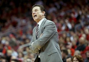Rick Pitino reacts to an official's call during Louisville's win over Boston College on Saturday. (Getty)