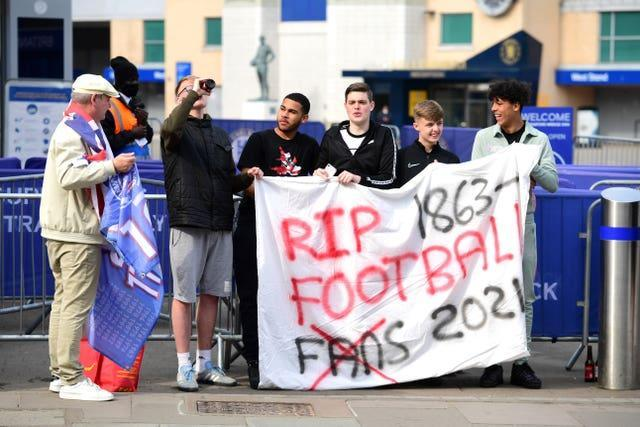Chelsea fans protested against the European Super League before their match with Brighton on Tuesday