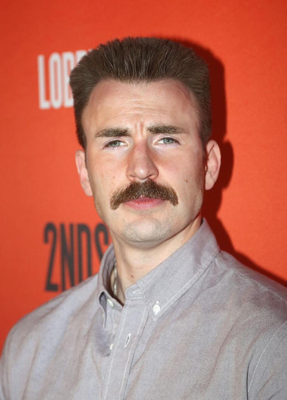 <p>The internet was outraged when they saw Chris Evans sporting a mustache on the red carpet, but later calmed down when they found out it was for his role as a cop in the Broadway play <em>Lobby Hero.</em></p>