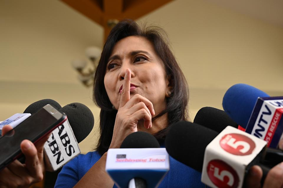 """File Photo: Philippine President Rodrigo Duterte fired Vice President and arch-critic Leni Robredo from her post as overseer of his deadly drug war on November 24, an aide said, just days after calling her a """"scatterbrain"""" not to be trusted with state secrets. (Photo: TED ALJIBE/AFP via Getty Images)"""