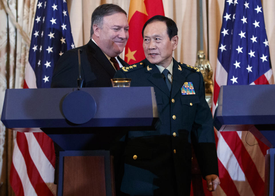 Mike Pompeo and Wei Fenghe