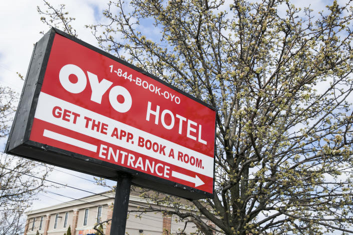 A logo sign outside of a Oyo Rooms Hotel in East Hanover, New Jersey, on March 23, 2020. (Photo by Kristoffer Tripplaar/Sipa USA)