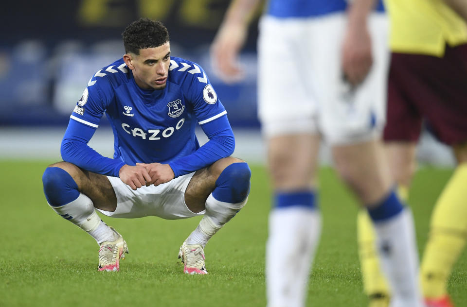 Everton's Ben Godfrey reacts at the end of the English Premier League soccer match between Everton and Burnley at Goodison Park in Liverpool, England, Saturday, March 13, 2021. (Peter Powell/Pool via AP)